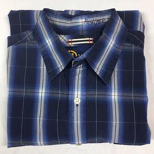 Nautica Medium Short Sleeve Black & Blue Plaid